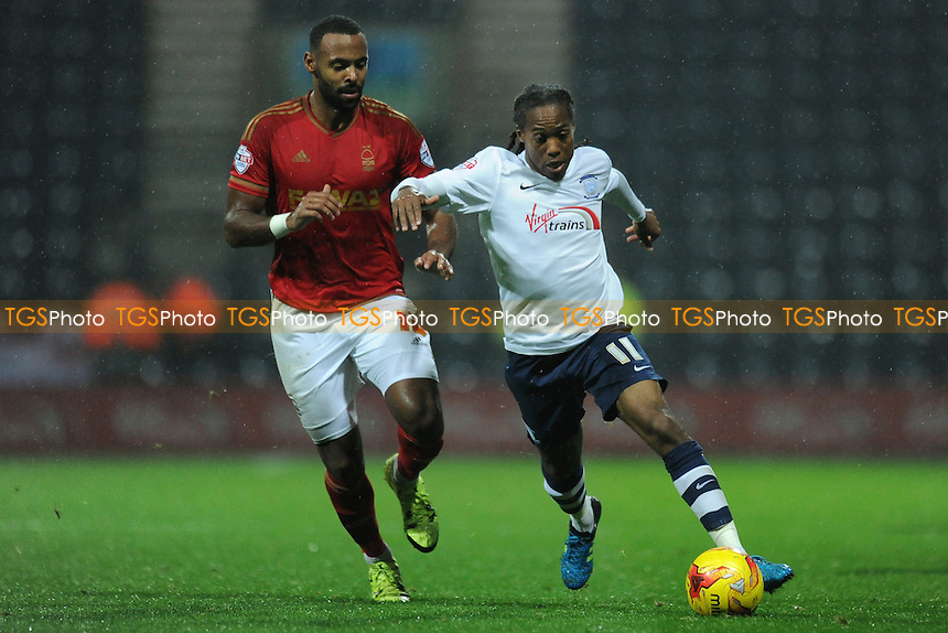 Daniel Johnson of Preston North End gets away from Liam Trotter of Nottingham Forest during Preston North End vs Nottingham Forest, Sky Bet Championship Football at Deepdale, Preston, England on 03/11/2015