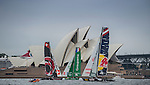 Teams in action during a training session ahead the Extreme Sailing Series Act 9 Final Showdown on 10 December 2014, in Sydney, Australia. Photo by Victor Fraile / Power Sport Images