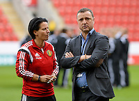 20160408 - ROTHERHAM , ENGLAND : Belgian head coach Ives Serneels (right) and Assistant coach Tamara Cassimon (left) pictured prior the female soccer game between England and The Belgian Red Flames - Belgium , the fourth game in the qualification for the European Championship in The Netherlands 2017  , Friday 8 th April 2016 at AESSEAL New York Stadium in Rotherham , England . PHOTO DAVID CATRY