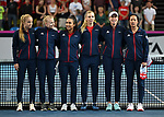 The Great Britain team. Rubber 1. World group II play off in the BNP Paribas Fed Cup. Copper Box arena. Queen Elizabeth Olympic Park. Stratford. London. UK. 20/04/2019. ~ MANDATORY Credit Garry Bowden/Sportinpictures - NO UNAUTHORISED USE - 07837 394578