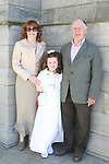 Erin Kindlon with her mum, Fiona and granddad John at the Scoil Aonghusa Communion in St.Peters Church...Photo NEWSFILE/Jenny Matthews.(Photo credit should read Jenny Matthews/NEWSFILE)....This Picture has been sent you under the condtions enclosed by:.Newsfile Ltd..The Studio,.Millmount Abbey,.Drogheda,.Co Meath..Ireland..Tel: +353(0)41-9871240.Fax: +353(0)41-9871260.GSM: +353(0)86-2500958.email: pictures@newsfile.ie.www.newsfile.ie.FTP: 193.120.102.198.