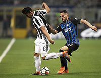 Calcio, Serie A: Inter - Juventus, Milano, stadio Giuseppe Meazza (San Siro), 28 aprile 2018.<br /> Juventus' Sami Kedhira (l) in action with Inter's Danilo D'ambrosio (r) during the Italian Serie A football match between Inter Milan and Juventus at Giuseppe Meazza (San Siro) stadium, April 28, 2018.<br /> UPDATE IMAGES PRESS/Isabella Bonotto