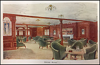 BNPS.co.uk (01202 558833)<br /> Pic: HAldridge/BNPS<br /> <br /> The smoking room.<br /> <br /> Incredibly rare illustrations and photos of the opulent surroundings of the Titanic have come to light in two brochures which describe the doomed ship as 'practically unsinkable.'<br /> <br /> The colour drawings depict the plush accommodation and facilities that first and second class passengers enjoyed on the luxury liner.<br /> <br /> They offer rare glimpses of the promenade deck, reading room, swimming baths, smoking room, main staircase, the Turkish bath, state room and parlour suit accommodation, dining room and reception room.<br /> <br /> Alongside the images there is an equally scarce copy of the sailing schedule for the doomed ship, highlighting its 'lost' trans-Atlantic service.<br /> <br /> The itinerary shows the Titanic would have gone on to make four trips from Southampton to New York between April to July 1912 had it not sunk on its maiden voyage with the loss of 1,522 lives.<br /> <br /> The two brochures and sailing schedule have now been put up for sale 105 years after the tragedy. They have a pre-sale estimate of a combined &pound;20,000.