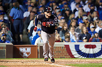 Cleveland Indians Roberto Perez (55) runs to first base after hitting a single in the seventh inning during Game 3 of the Major League Baseball World Series against the Chicago Cubs on October 28, 2016 at Wrigley Field in Chicago, Illinois.  (Mike Janes/Four Seam Images)