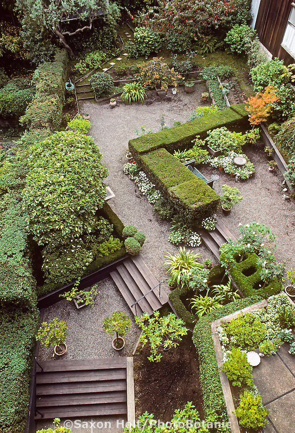 Jeanne Wolff backyard San Francisco garden; Garden rooms defined by hedges. Thomas Church design