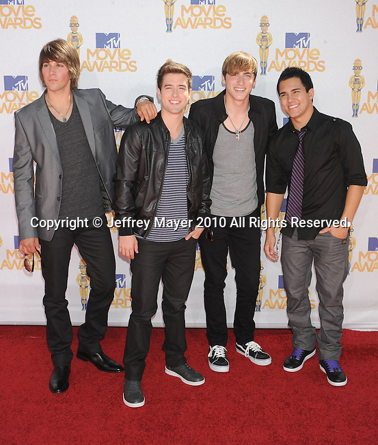 UNIVERSAL CITY, CA. - June 06: James Maslow, Logan Henderson, Kendall Schmidt, and Carlos Pena Jr. of Big Time Rush arrive at the 2010 MTV Movie Awards at Gibson Amphitheatre on June 6, 2010 in Universal City, California.