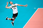 16.09.2019, Lotto Arena, Antwerpen<br />Volleyball, Europameisterschaft, Deutschland (GER) vs. …sterreich / Oesterreich (AUT)<br /><br />Aufschlag / Service Moritz Karlitzek (#14 GER)<br /><br />  Foto © nordphoto / Kurth