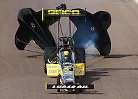 Feb 21, 2015; Chandler, AZ, USA; NHRA top fuel driver Richie Crampton during qualifying for the Carquest Nationals at Wild Horse Pass Motorsports Park. Mandatory Credit: Mark J. Rebilas-