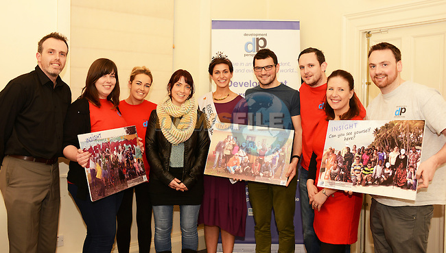 "Rose of Tralee Maria Walsh (centre) at the launch of Development Perspective's ""Insight 2015"" with (from left) Bobby McCormack, Deborah Conlon, Stephanie Kirwan. Eimear Delahunty, Brian Fitzpatrick, Paul Crewe, Mog Downey and  Colm Durham."