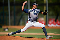 Erick Figueroa during the WWBA World Championship at the Roger Dean Complex on October 20, 2018 in Jupiter, Florida.  Erick Figueroa is a right handed pitcher from San Juan, Puerto Rico who attends Puerto Rico Baseball Academy.  (Mike Janes/Four Seam Images)