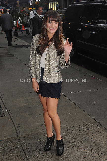 WWW.ACEPIXS.COM . . . . . .May 21, 2012...New York City....Lea Michele tapes an appearance on the Late Show with David Letterman on May 21, 2012  in New York City ....Please byline: KRISTIN CALLAHAN - ACEPIXS.COM.. . . . . . ..Ace Pictures, Inc: ..tel: (212) 243 8787 or (646) 769 0430..e-mail: info@acepixs.com..web: http://www.acepixs.com .