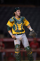 AZL Athletics catcher Cesarre Astorri (11) during an Arizona League game against the AZL Angels at Tempe Diablo Stadium on June 26, 2018 in Tempe, Arizona. The AZL Athletics defeated the AZL Angels 7-1. (Zachary Lucy/Four Seam Images)