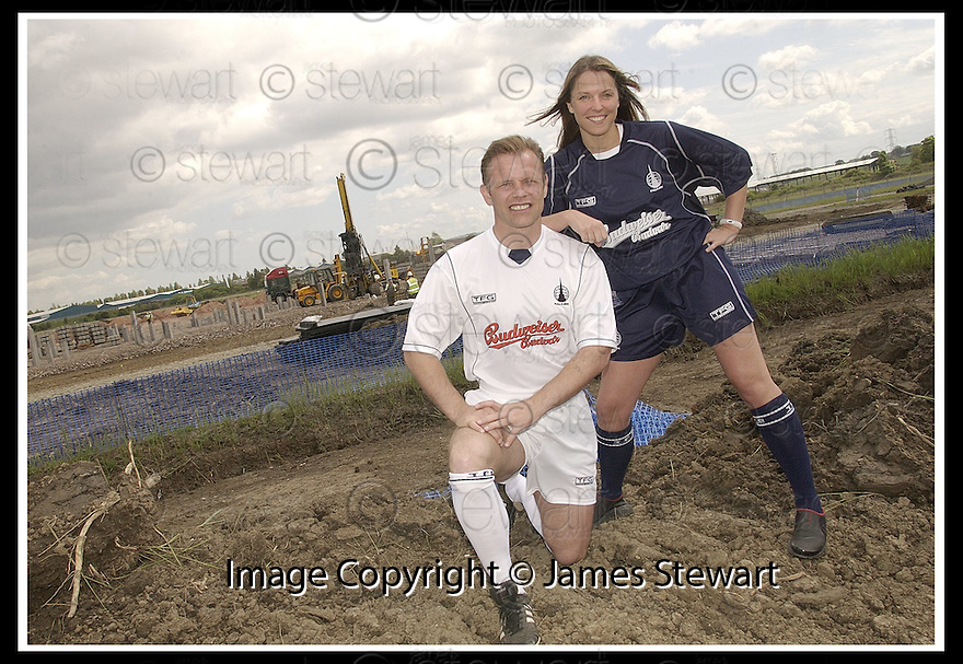 11/6/03           Copyright Pic : James Stewart              .File Name : stewart-ffc strip 02.FALKIRK PLAYER MANAGER JOHN YOGI HUGHES MODELS THE NEW FALKIRK AWAY STRIP WHILE KELLY ROY, WHO RUNS THE FALKIRK BABES CHEERLEADERS, MODELS THE NEW HOME STRIP AT THE SITE OF THE NEW STADIUM AT WESTFIELD..... .PAYMENTS SHOULD BE MADE TO :-.James Stewart Photo Agency, 19 Carronlea Drive, Falkirk. FK2 8DN      Vat Reg No. 607 6932 25.Office : +44 (0)1324 570906     .Mobile : + 44 (0)7721 416997.Fax     :  +44 (0)1324 570906.E-mail : jim@jspa.co.uk.If you require further information then contact Jim Stewart on any of the numbers above.........