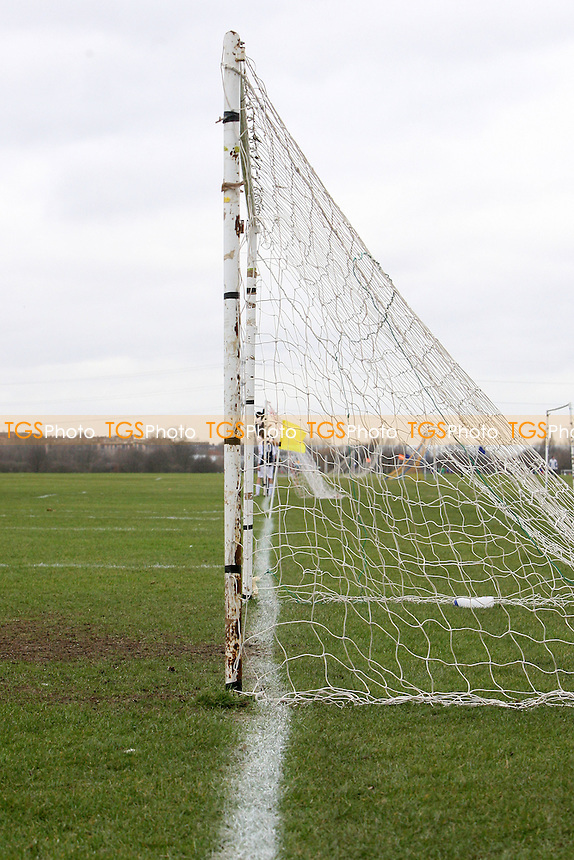 Goal lines are seen to be marked out BEHIND the goal posts at the South Marsh of Hackney Marshes, bringing about the postponement of a London FA Sunday Cup match - 06/02/11 - MANDATORY CREDIT: Gavin Ellis/TGSPHOTO - Self billing applies where appropriate - Tel: 0845 094 6026