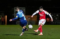 Fleetwood Town's Danny Andrew shoots under pressure from Wycombe Wanderers' Dominic Gape (left) <br /> <br /> Photographer Andrew Kearns/CameraSport<br /> <br /> The EFL Sky Bet League One - Wycombe Wanderers v Fleetwood Town - Tuesday 11th February 2020 - Adams Park - Wycombe<br /> <br /> World Copyright © 2020 CameraSport. All rights reserved. 43 Linden Ave. Countesthorpe. Leicester. England. LE8 5PG - Tel: +44 (0) 116 277 4147 - admin@camerasport.com - www.camerasport.com