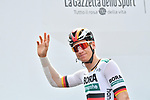 Heavliy bandaged German Champion Pascal Ackermann (GER) Bora-Hansgrohe at sign on before the start of Stage 13 of the 2019 Giro d'Italia, running 196km from Pinerolo to Ceresole Reale (Lago Serrù), Italy. 24th May 2019<br /> Picture: Massimo Paolone/LaPresse | Cyclefile<br /> <br /> All photos usage must carry mandatory copyright credit (© Cyclefile | Massimo Paolone/LaPresse)