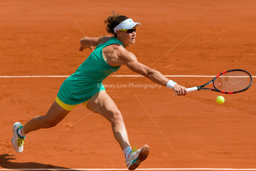 May 27, 2015: Samantha Stosur of Australia in action in a 2nd round match against Amandine Hesse of France on day four of the 2015 French Open tennis tournament at Roland Garros in Paris, France. Sydney Low/AsteriskImages