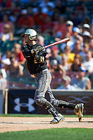 Carter Kieboom (22) of the American team at bat during Under Armour All-American Game presented by Baseball Factory on August 15, 2015 at Wrigley Field in Chicago, Illinois.  The National team defeated the American team 11-5.  (Mike Janes/Four Seam Images)