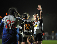 Referee Marius de Toit penalises Ories during the 2013 Wellington women's club rugby final between Norths and Oriental-Rongotai at Porirua Park, Porirua, Wellington, New Zealand on Friday, 26 July 2013. Photo: Dave Lintott / lintottphoto.co.nz