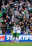 S&ouml;dert&auml;lje 2014-05-18 Fotboll Superettan Syrianska FC - Hammarby IF :  <br /> Hammarbys Pablo Pinones-Arce har gjort 3-2 och jublar med Hammarbys Nahir Besara och Hammarbys Kennedy Bakircioglu framf&ouml;r jublande Hammarby supportrar<br /> (Foto: Kenta J&ouml;nsson) Nyckelord:  Syrianska SFC S&ouml;dert&auml;lje Fotbollsarena Hammarby HIF Bajen jubel gl&auml;dje lycka glad happy supporter fans publik supporters