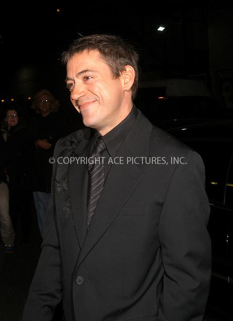 Robert Downey Jr appeared on the Late Show to promote his new movie Gothika. New York City. November 20 2003. Please byline: AJ SOKALNER/NY Photo Press.   ..*PAY-PER-USE*      ....NY Photo Press:  ..phone (646) 267-6913;   ..e-mail: info@nyphotopress.com