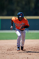 Baltimore Orioles Cedric Mullins (44) runs the bases during a minor league Spring Training game against the Boston Red Sox on March 16, 2017 at the Buck O'Neil Baseball Complex in Sarasota, Florida.  (Mike Janes/Four Seam Images)