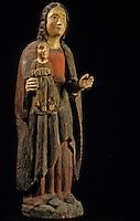 Europe/France/Auvergne/15/Cantal/Saint Flour/Musée de la Haute-Auvergne: Détail vierge à l'enfant XIVème siècle