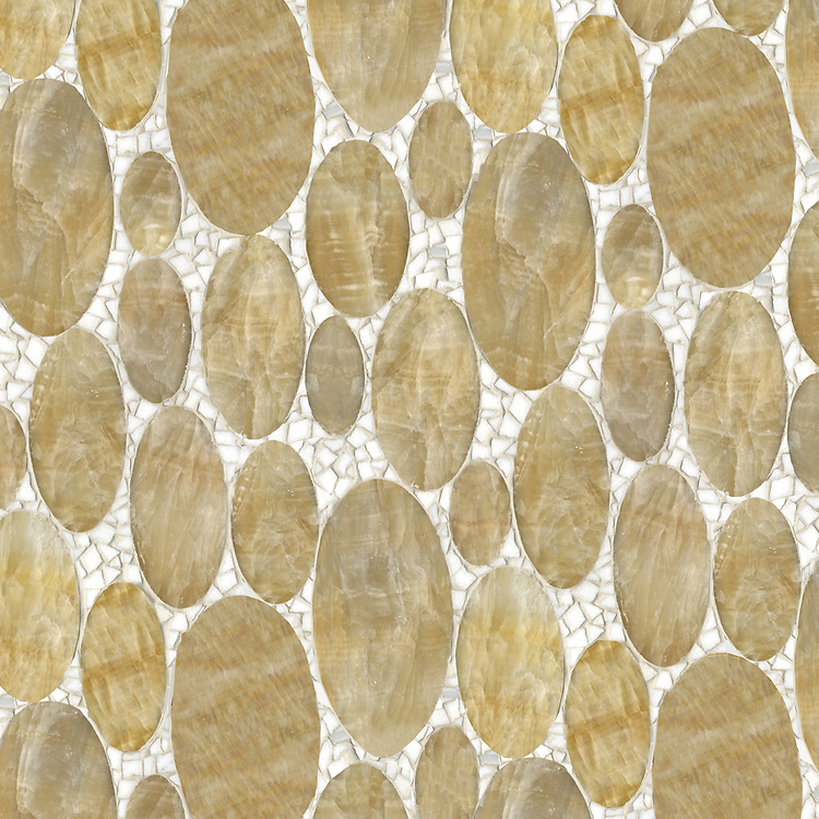 Muna, a waterjet and hand-cut stone mosaic, shown in polished Honey Onyx and Calacatta Tia.