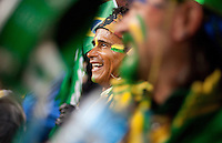 A Brazil samba fan beats on his drum before the 2010 World Cup match at Ellis Park Stadium.  Chile played Brazil at Ellis Park in Johannesburg, South Africa on Monday, June 28, 2010.  Brazil defeated Chilie 3-0.