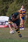 Kevin Farrell scores the first of his 2 tries right on halftime after a telling Pukekohe counter attack from a Patumahoe error. CMRFU Counties Power Premier Club Rugby game between Patumahoe & Pukekohe played at Patumahoe on April 12th, 2008..The halftime score was 10 all with Pukekohe going on to win 23 - 18.