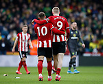 Billy Sharp of Sheffield Utd and Oli McBurnie of Sheffield Utd at the end of the match during the Premier League match at Bramall Lane, Sheffield. Picture date: 7th March 2020. Picture credit should read: Simon Bellis/Sportimage