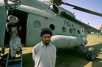 Russian helicopter delivering Taleban prisoniers from the Talokan front to warlord Ahmad Shah Massoud in Khoaja Bahauddin.