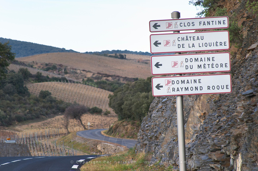 Clos Fantine, Chateau de la Liquiere, Domaine du Meteore, Domaine Raymond Roque. Winding road and vineyard. Near La Liquiere village. Faugeres. Languedoc. France. Europe.