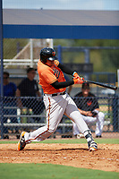 Baltimore Orioles Jomar Reyes (70) at bat during an Instructional League game against the New York Yankees on September 23, 2017 at the Yankees Minor League Complex in Tampa, Florida.  (Mike Janes/Four Seam Images)