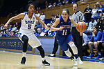 DURHAM, NC - NOVEMBER 26: Presbyterian's Kacie Hall (11) and Duke's Leaonna Odom (5). The Duke University Blue Devils hosted the Presbyterian College Blue Hose on November 26, 2017 at Cameron Indoor Stadium in Durham, NC in a Division I women's college basketball game. Duke won the game 79-45.