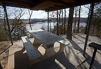 NWA Democrat-Gazette/BEN GOFF @NWABENGOFF<br /> A campsite overlooks the water Thursday, Feb. 9, 2017, at War Eagle Campground on Beaver Lake.