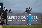 5th October 2017, The Old Course, St Andrews, Scotland; Alfred Dunhill Links Championship, first round; Aaron Rai of England tees off on the fifteenth hole on the Old Course, St Andrews during the first round at the Alfred Dunhill Links Championship