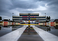May 19, 2017; Topeka, KS, USA; General view of the startling line and the timing suites tower during a rain delay to NHRA qualifying for the Heartland Nationals at Heartland Park Topeka. Mandatory Credit: Mark J. Rebilas-USA TODAY Sports