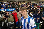 Real Sociedad's new player Sergio Canales during his official presentation.February 2,2014. (ALTERPHOTOS/Mikel)