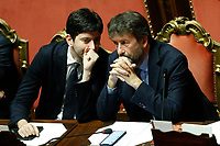 Minister of Wealth Roberto Speranza and Minister of Culture Dario Franceschini<br /> Rome December 12th 2019. Speech of the Italian Premier about MES, European Stability Mechanism.<br /> Foto Samantha Zucchi Insidefoto