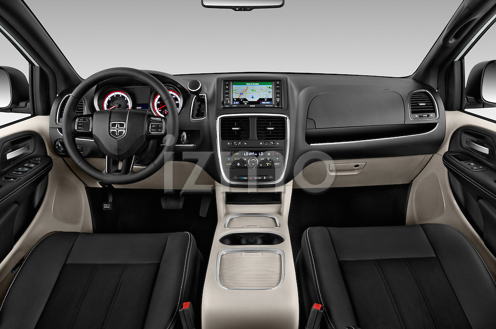Stock photo of straight dashboard view of2015 Dodge Grand Caravan SXT PLUS 5 Door Minivan Dashboard