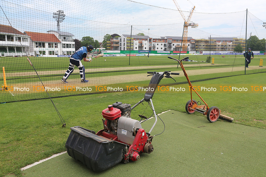 General view of a lawnmower adjacent to the nets ahead of Kent Spitfires vs Essex Eagles, Royal London One-Day Cup Cricket at the St Lawrence Ground on 17th May 2017