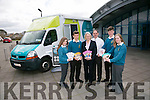 Mercy Mounthawk Started their Health Promotion Week with the Marie Keating Foundation Mobile Information Units on Monday. Pictured Clodagh Thompson, Donagh O Brien, Maeve Fitzgerald,  Community Information Nurse with the Marie Keating Foundation, Pat Fleming, Deputy Principal, Sam Boyle and Julie O Grady