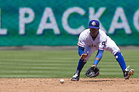 Round Rock shortstop Jurickson Profar (10) fields a grounder against the Nashville Sounds in the Pacific Coast League baseball game on May 5, 2013 at the Dell Diamond in Round Rock, Texas. Round Rock defeated Nashville 5-1. (Andrew Woolley/Four Seam Images).