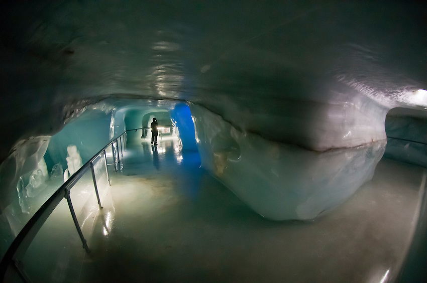 The Ice Palace (Eispalast) carved from the interior of Europe's longest glacier (the Aletsch Glacier), Jungfraujoch (Top of Europe), Canton Bern, Switzerland