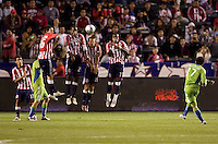 Seattle Sounders forward Fredy Montero takes shoots on Chivas USA wall. Chivas USA defeated the Seattle Sounders 2-0 at Home Depot Center stadium in Carson, California on Saturday April 18, 2009.  .