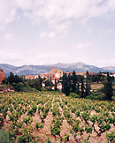 SPAIN, La Rioja, vineyard with houses and mountain range in background