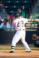 Isiah Kiner-Falefa (48) of the Hickory Crawdads at bat against the Augusta GreenJackets at L.P. Frans Stadium on May 11, 2014 in Hickory, North Carolina.  The GreenJackets defeated the Crawdads 9-4.  (Brian Westerholt/Four Seam Images)