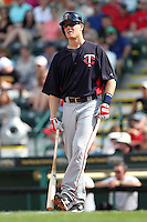 Minnesota Twins designated hitter Justin Morneau #33 during a spring training game against the Pittsburgh Pirates at McKechnie Field on March 10, 2012 in Bradenton, Florida.  Minnesota defeated Pittsburgh 4-2.  (Mike Janes/Four Seam Images)