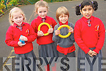 Pupils at Holy Cross Mercy National School  in Killarney celebrating their achievement of becoming the first Kerry school to raise an active flag. .L-R Orla Casey, Sarah Looney, Titus Bearss and Mahuba Zzama